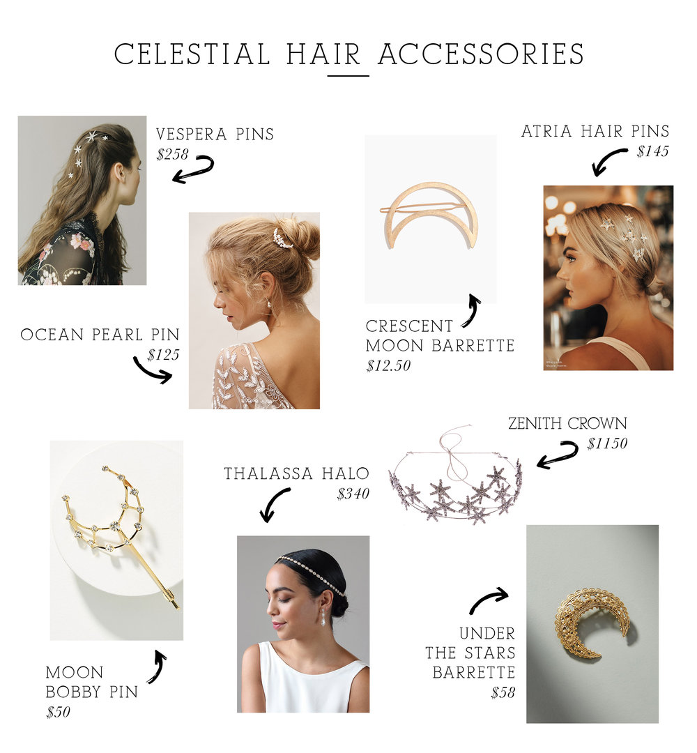 Vespera Pins  /  Ocean Pearl Pin  /  Crescent Moon Barrette  /  Atria Hair Pins  /  Moon Bobby Pin  /  Thalassa Halo  /  Zenith Crown  /  Under the Stars Barrette