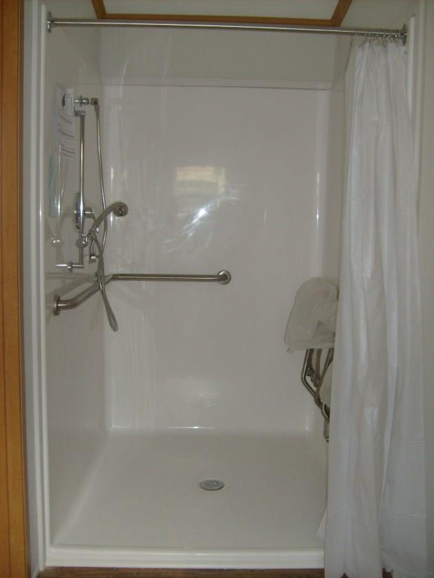 50 x 50 roll in shower with folding seat