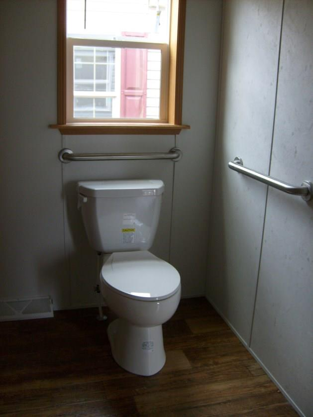 Elongated toilet with grab bars