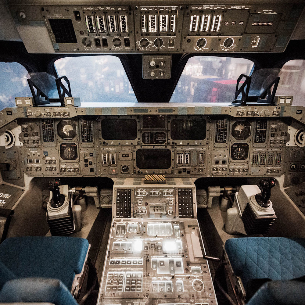 Cockpit of space shuttle simulator at Houston Space Center