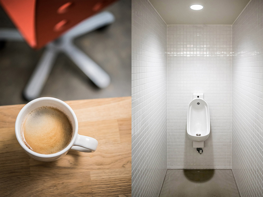 clean modern urinal and espresso coffee cup at work