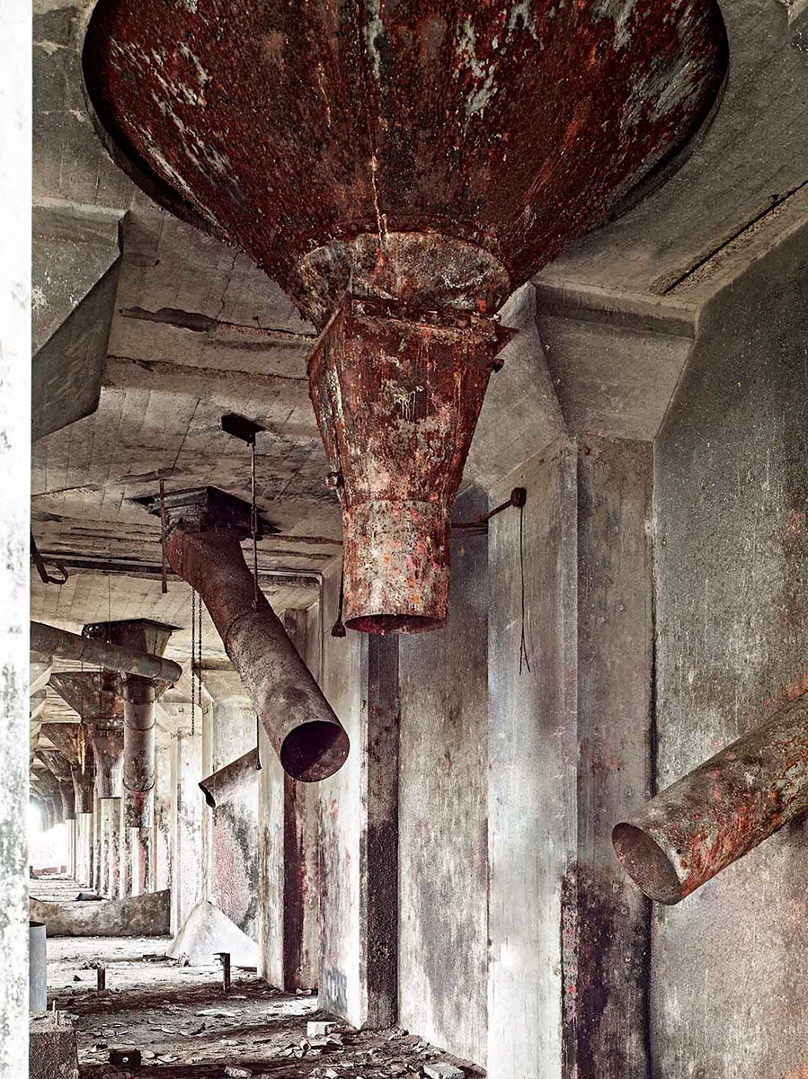 abandoned factory Concrete Central Elevator pipes