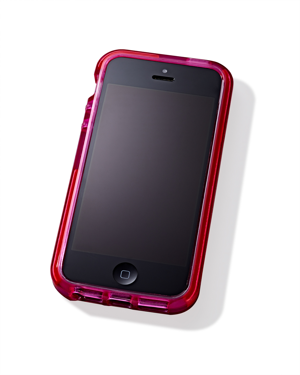 iPhone cellphone with hot pink case on white background