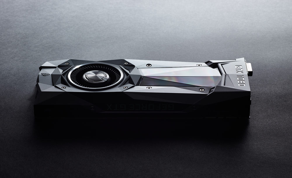 NVIDIA GTX 1080 Graphics card on a dark gray studio background
