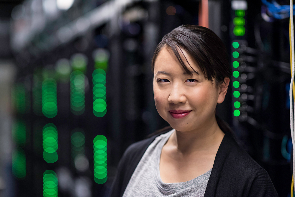 Asian woman in data center