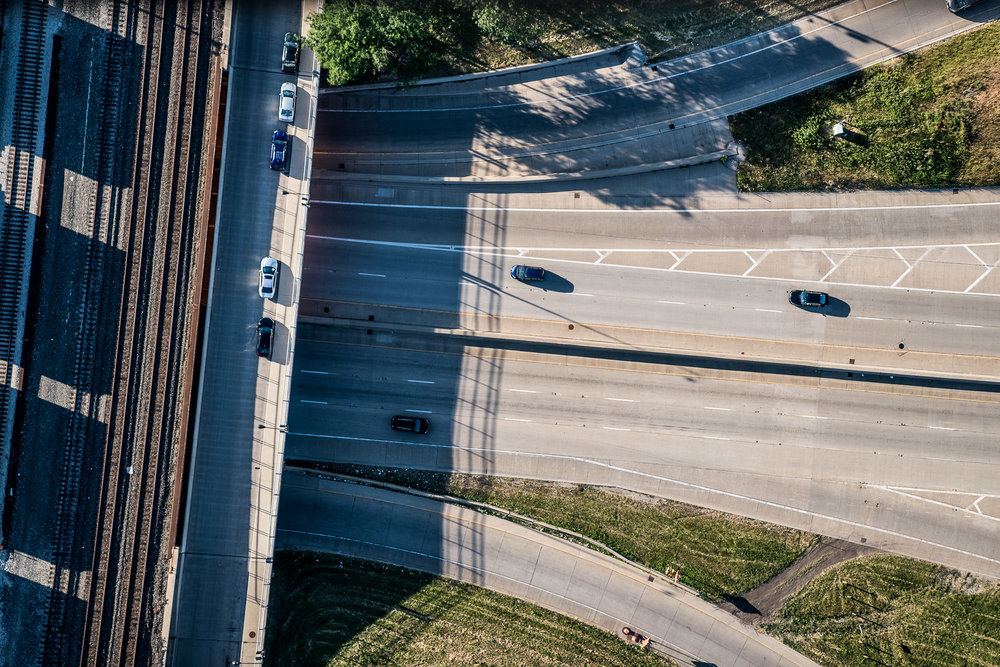 Aerial above Roads in Chicago