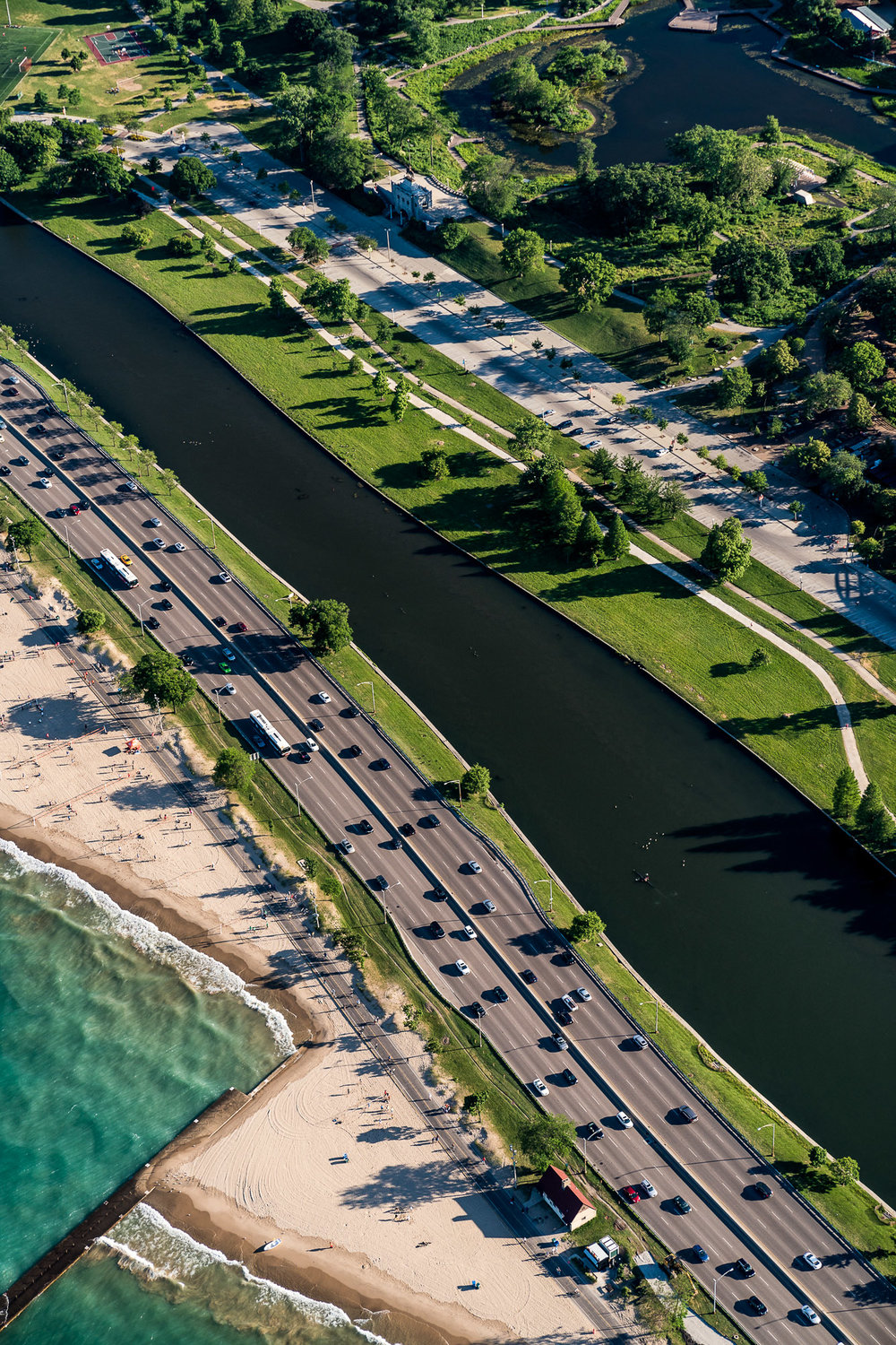 Aerial of Chicago beach