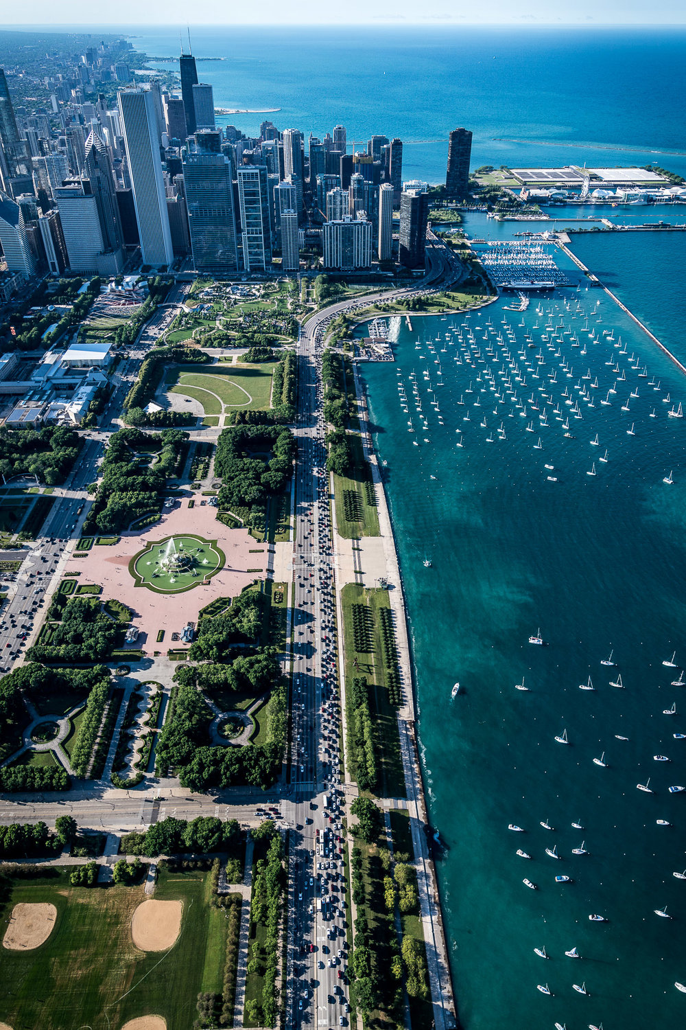 Aerial of Chicago and Lake