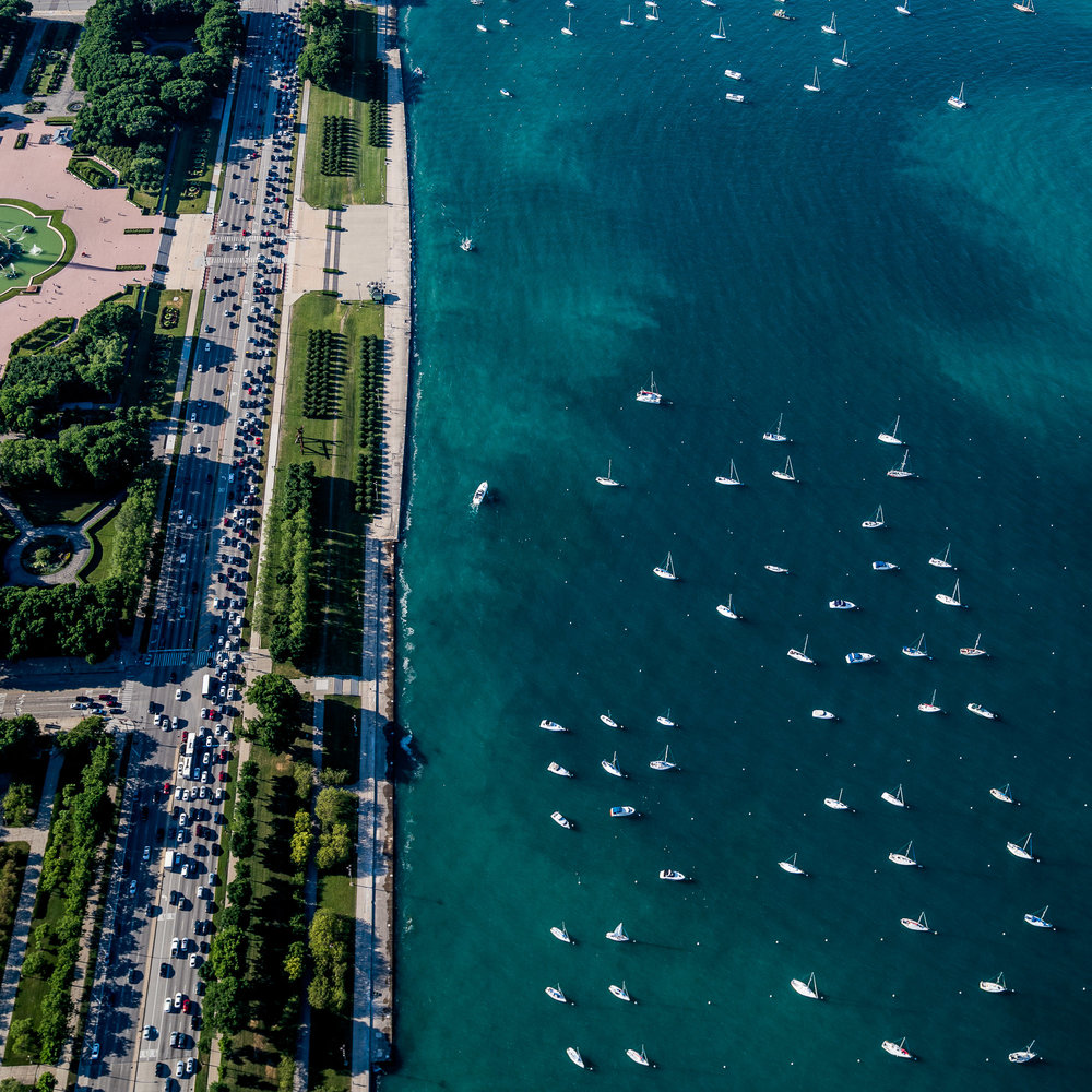 Aerial above boats in Lake Michigan