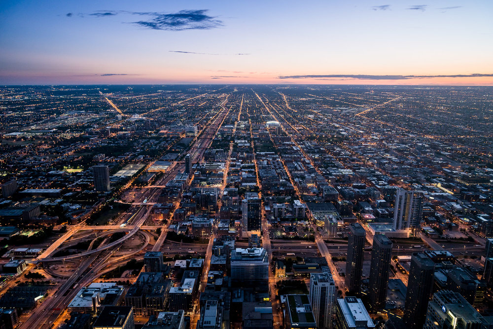 Chicago streets at sunset