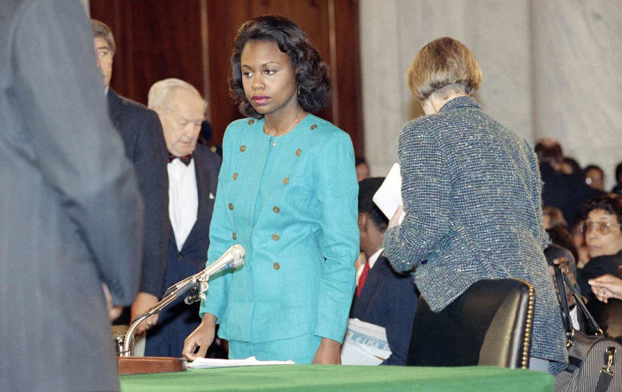 Photo Source:  Anita Hill  stands in the Caucus Room after spending the morning testifying before the Senate Judiciary Committee, October 11, 1991. (AP Photo / Greg Gibson) https://www.thenation.com/article/sexual-harassment-law-was-shaped-by-the-battles-of-black-women/