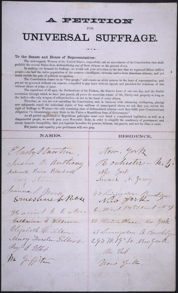 Petition signed by E. Cady Stanton, Susan B. Anthony, Lucy Stone, and others. U.S. National Archives and Records Administration.