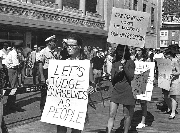 Women protesting at 1968 Miss America Pageant.