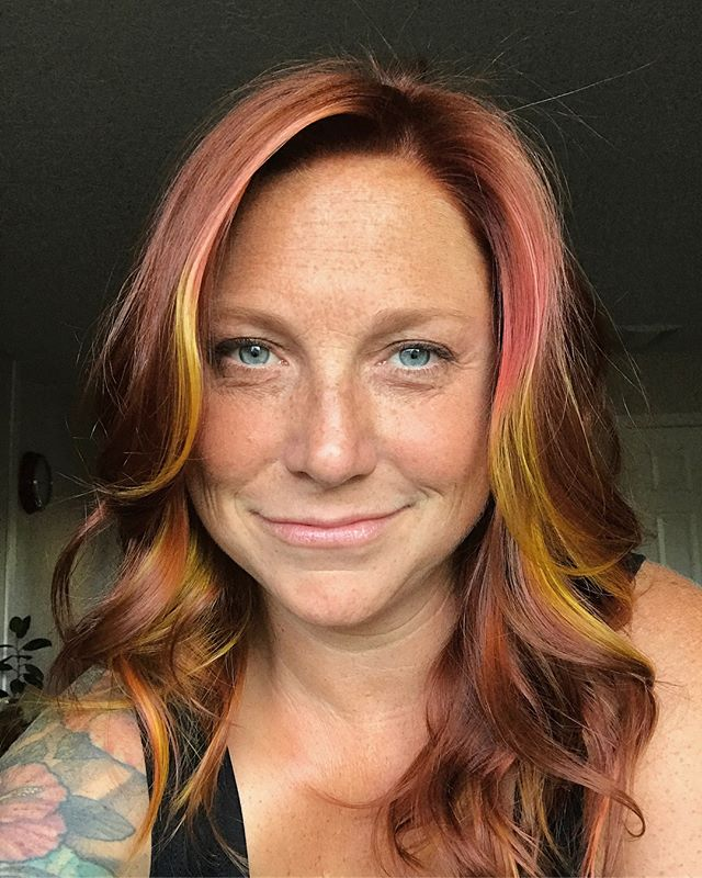 Miss @beckaliah got her hair #upgrade from @cosmetic.alchemist the other day, my my doesn't this redhead look like a lil #fox !? Yeeeep! #keune #joico #meet #pdxhairstylist #pdxhair #friyay #curlyhair #loveyourhair #redhead #meow #style #hair #color #combo #blueeyes #yellow #coral #pdx #pnw #portland #behindthechair #unicorntribe #repost #love #my #girls