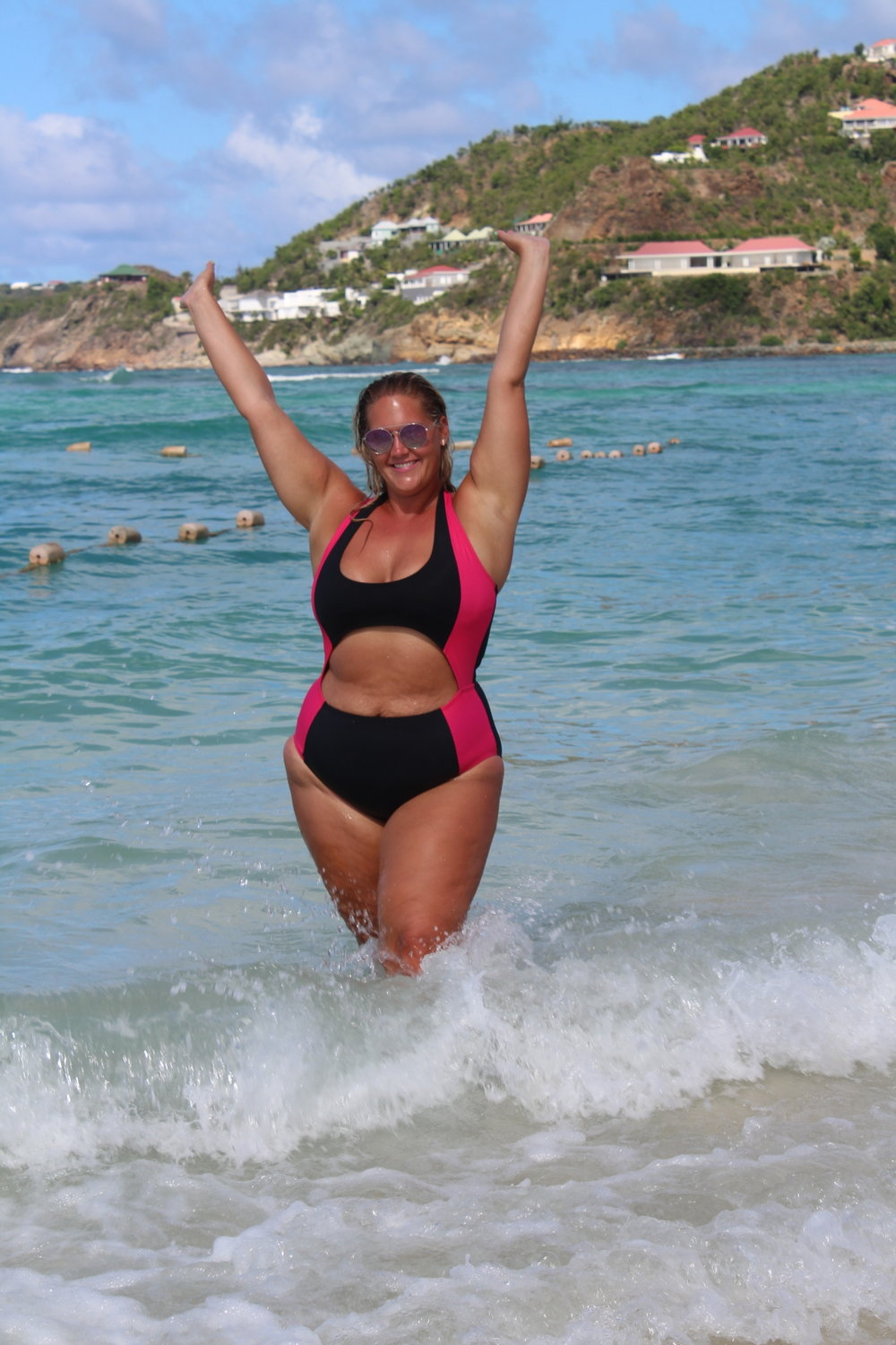 The Zoe- Hot Coral Curvykini travel product recommended by Chaya Milchtein on Pretty Progressive.