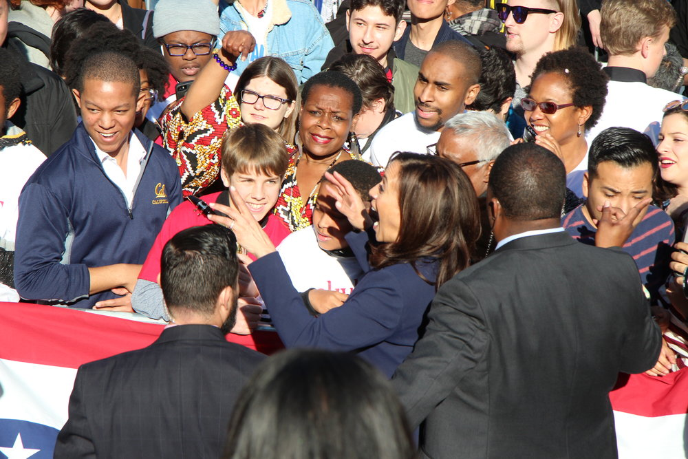 U.S. Senator Kamala Harris greets rally goers at her presidental campaign launch rally in Frank Ogawa Plaza, Oakland CA, U.S., January 27, 2019. photo by Kathryn E. Styer/KGPC NEWS