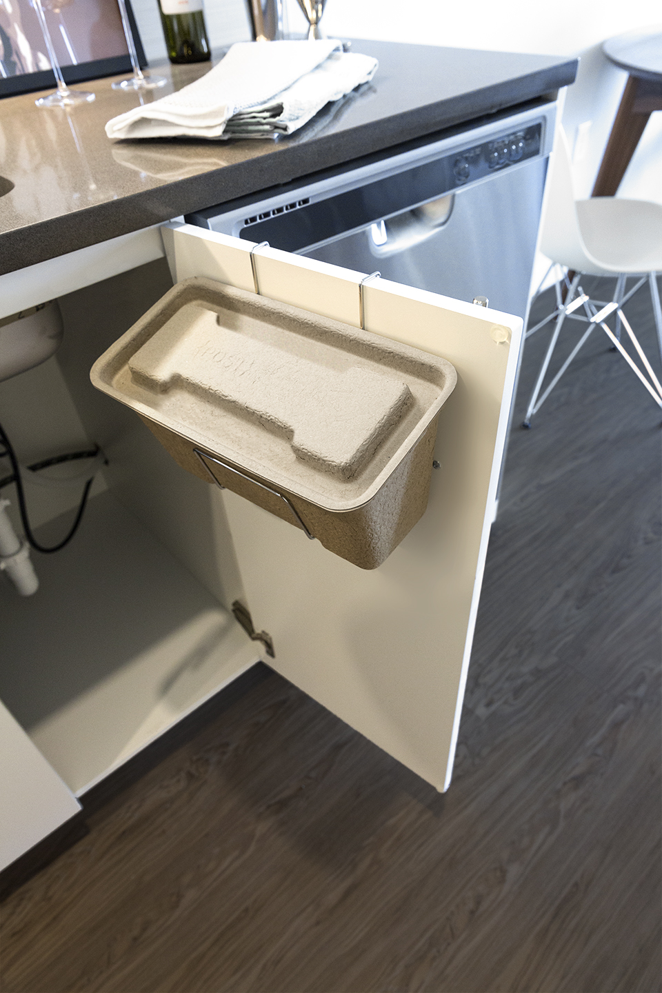 Post Modern kitchen compost bin, undercounter