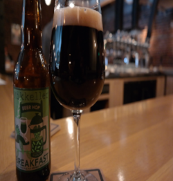 Enjoying an oatmeal stout brewed with coffee from Mikkeller Bar San Fran
