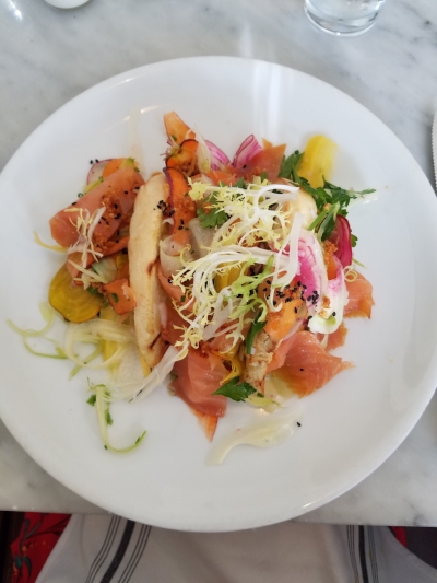 Bright, flavorful take on smoked salmon bursting with fresh garden flavors at Marlowe San Francisco