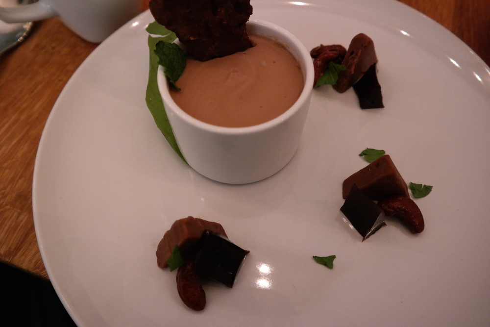 Silky Milk Chocolate Mousse with wine jelly