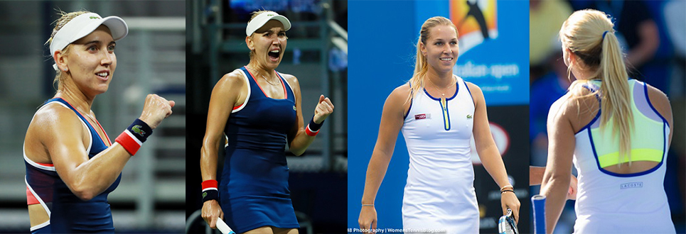 Elana Vesnina sports a classic but still one of favorite items  Lacoste Fall Racer Dress . The dress has a super cute contrasting mesh racerback and uses vibrant pops of color to add light against a navy silhouette. Dominika Cibulkova also rocked the court in Lacoste with a much brighter and  modern take on the the Lacoste racer back