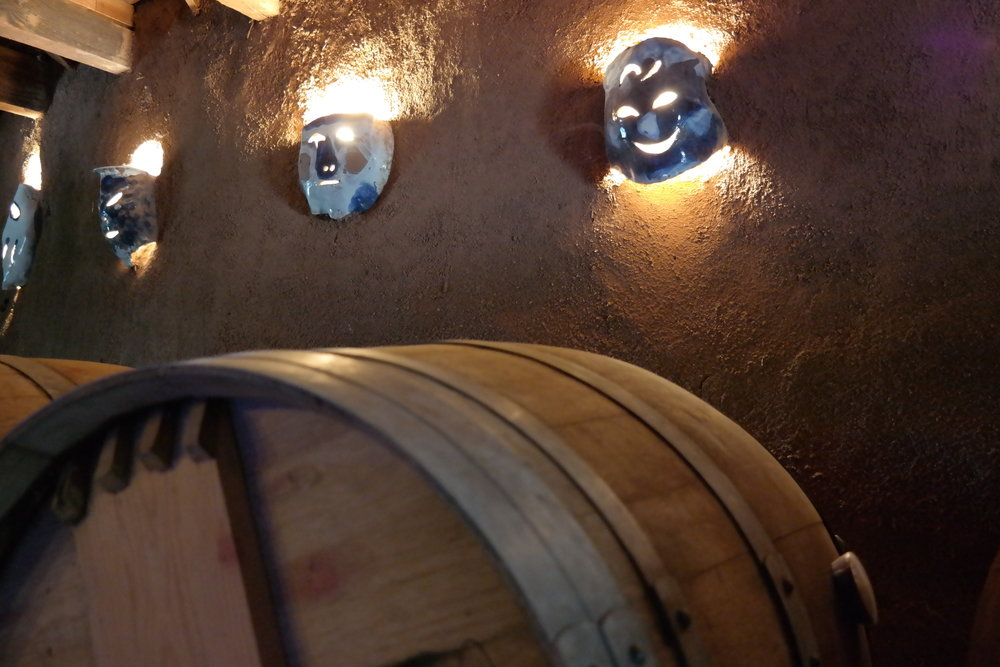 Wine barrels in cob house tasting room of Sol y Barro