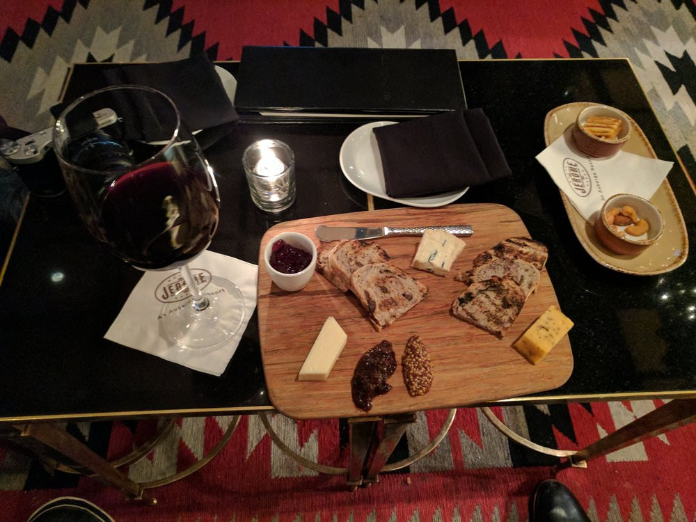 Hotel Jerome cheeseboard action with some sips of Napa cab