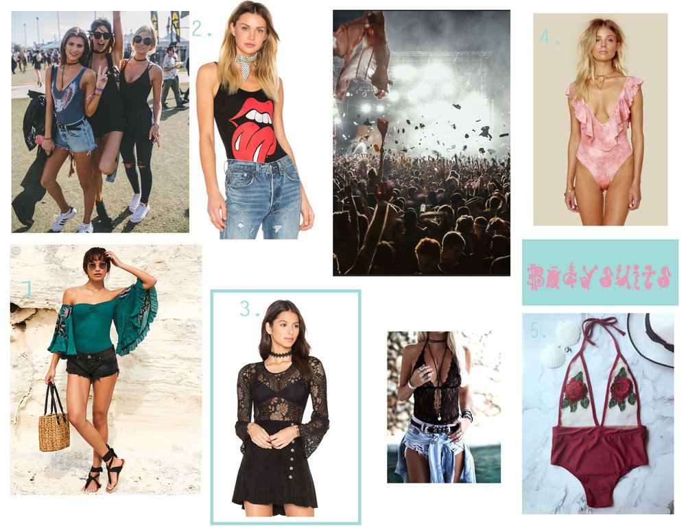 1. Babes Of Paradise Bodysuit - Free People, 2.  Rolling Stone BodySuit  - Missguided, 3.  Lace Bodysuit-  Band of Gypsies, 4. Flutter One piece  -Planet Blue, 5.  Stereo Flower See Thru Swimwear - Zaful