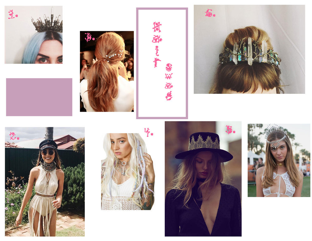 1. Queen Of Swords Crown - Elemental Child, 2. Baker Boy Hat - Brixton, 3. Flower Bobby Pin Set - Lauren Conrad, 4.  Ethereal Clip In Dreadlocks - Dolls Kill, 5. Aurora Borealis Crystal Crown - WolfNWhiskey, 6. La Noche Hat-  For Love And Lemons