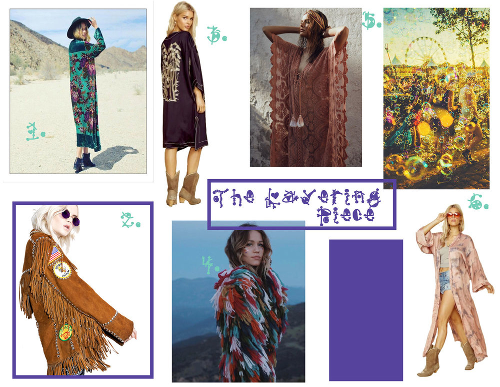 Dolly Dagger Duster - Girl On A Vine, 2.  Deadstock Highway Jacket - Dolls Kill, 3.  Noir Kimono -Bardot, 4.  Plush Shag Jacket - The Naked Tiger, 5. Mandala Mykonos Kaftan-  Jen's Pirate Booty, 6. Day Dreamer Kimono - Bluelife.