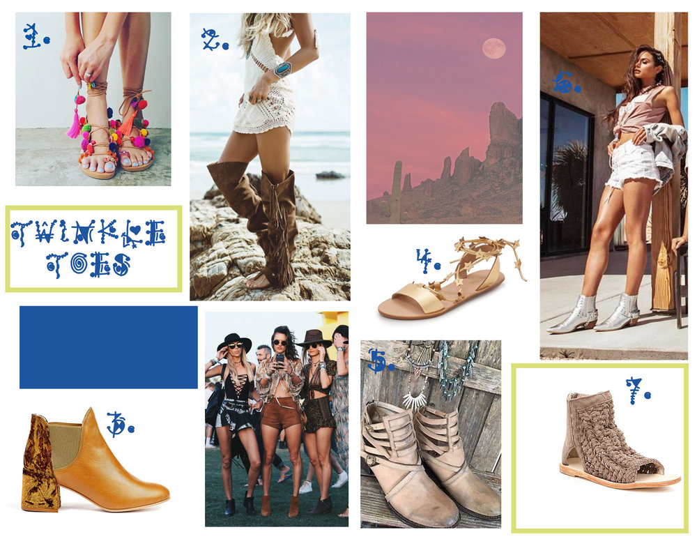 Penny Lane Sandle - Elina Linardaki, 2. Pirate Sandals -The Layering Boot, 3.  Ferne Boots - Ouigal, 4.  STARLA FLAT SANDALS  - Loeffler Randal, 5.  Stair Women's Boot - Freebird, 6. Gunslinger Boots  - Dolls Kill, 7.  Island Cruiser Sandals - Free People