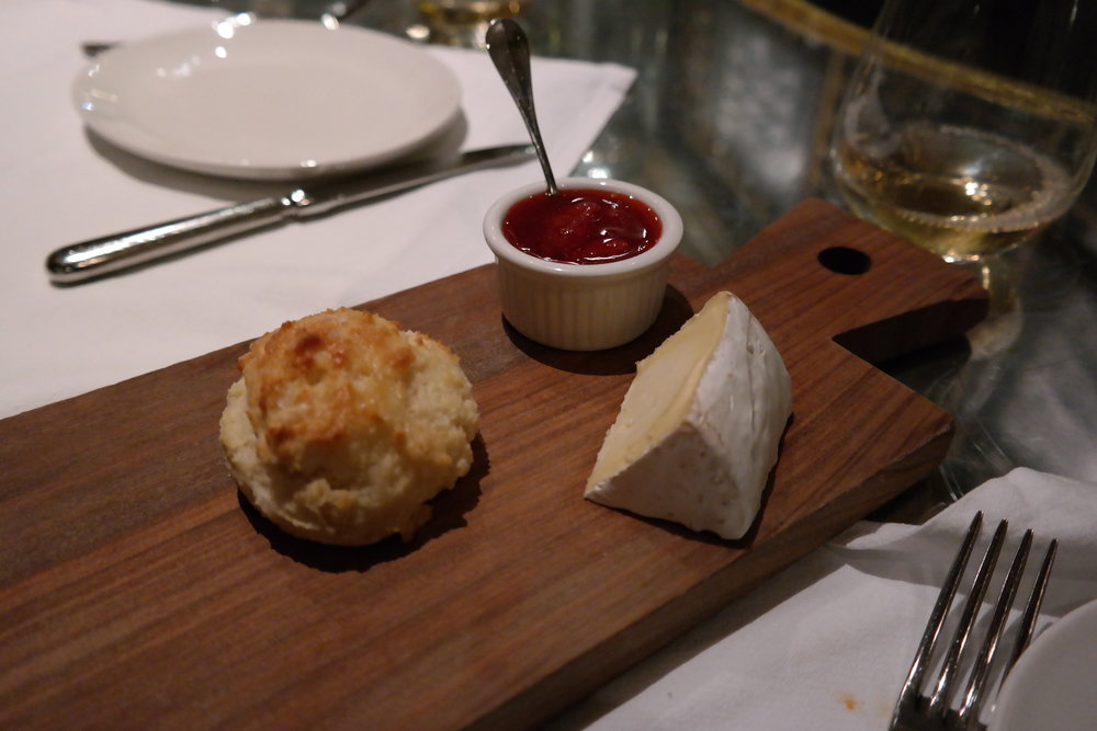 Drop biscuits, strawberry preserves and Mt. Tam cowgirl creamery cheese