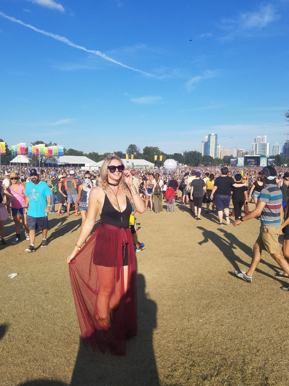 My sheer maxi, bodysuit, boot combo from ACL 2016