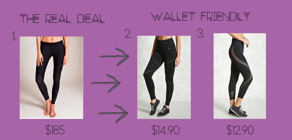 1. Ultra Pixelate Legging  $185 2. Forever Active Lasser Cut Seam Leggings  $14.90 3. Forever Active Seamless Capri Leggings  $12.90