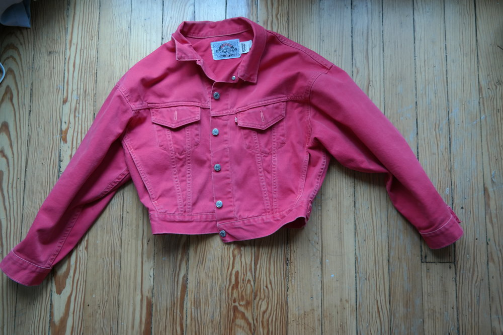 The QUEEN. Hot Pink Vintage Levis Jacket, before my pin customization...obsessed.