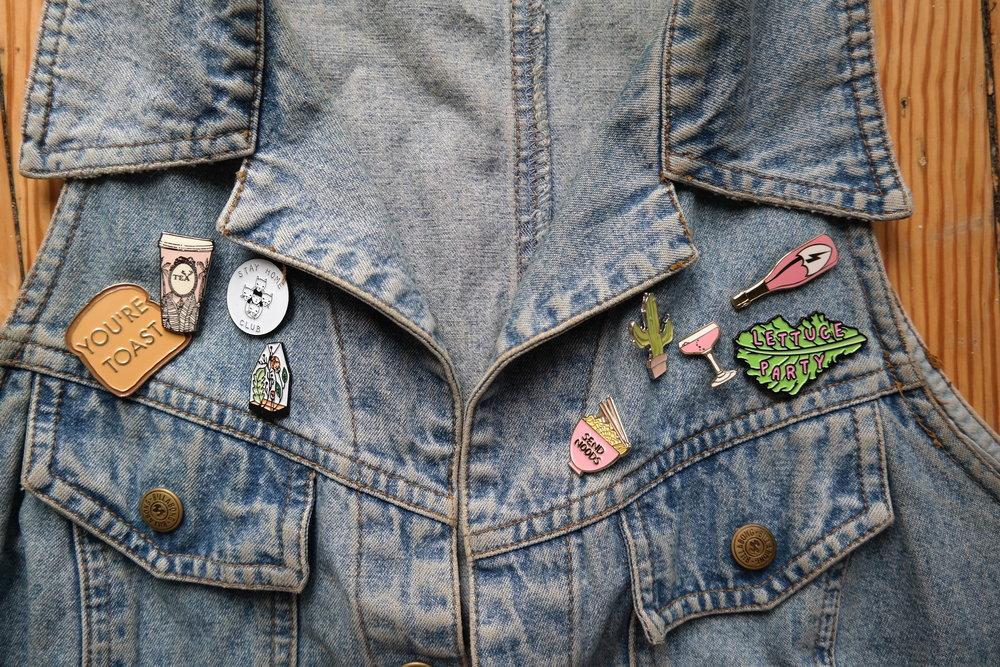 My first vintage denim vest, Billabong from 90s Australia and the most fun pins.