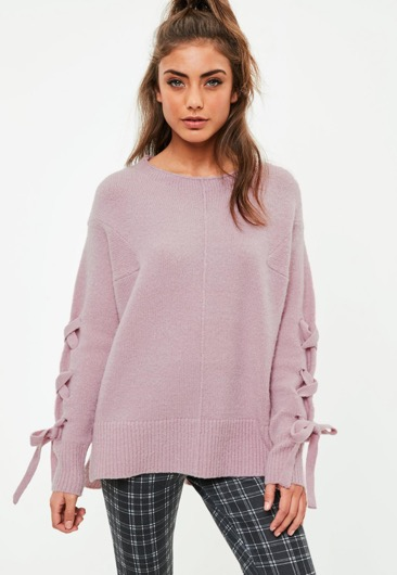 Soft Lace up Sweater