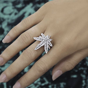 For the Rare Gem in Your Life - Gorgeous cannabis leaf diamond ring for that special gal in your life adding that EXTRA sparkle while passing the J.