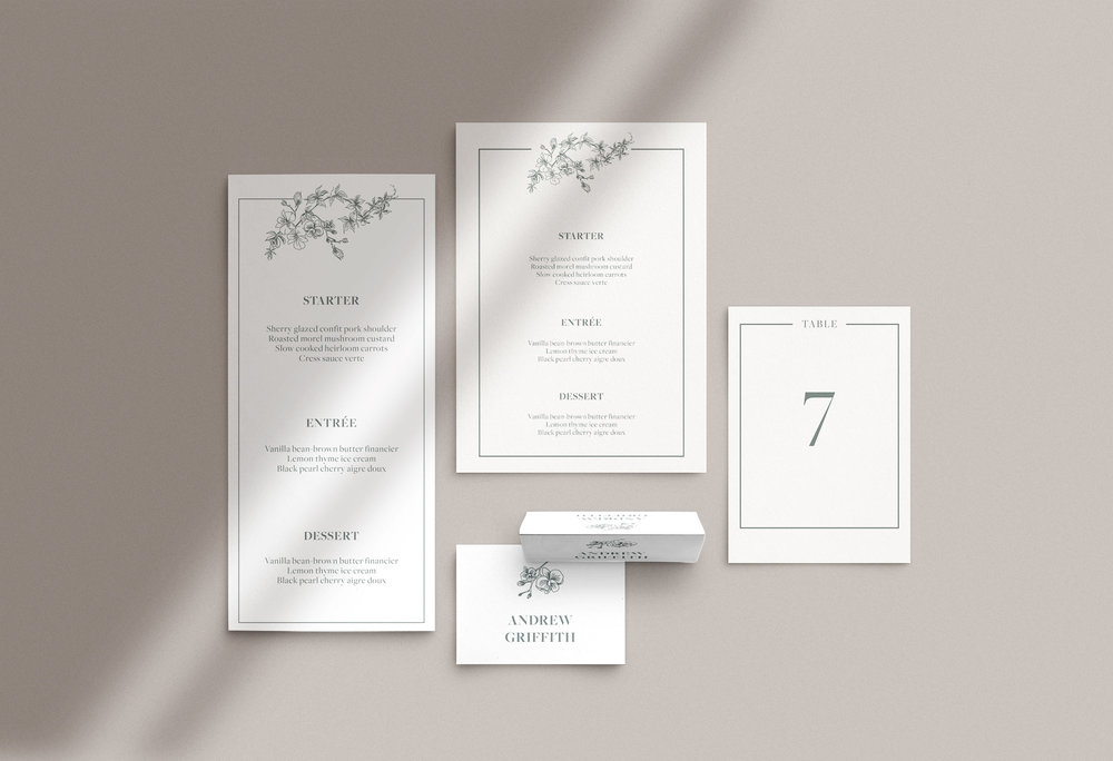 Carta Plena Menu and Place cards Stephanie
