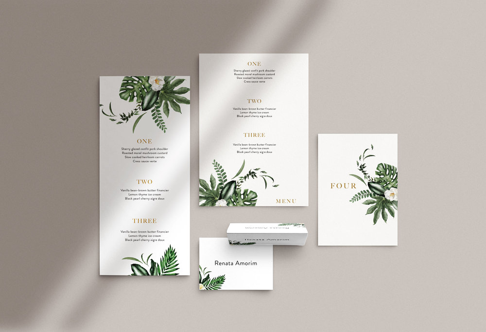 Carta Plena Menu and Place cards Emily