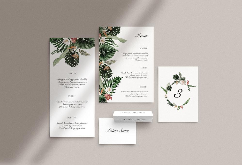 Carta Plena day-of accessories Raissa Suite Carta Plena Menu and Place cards Raissa