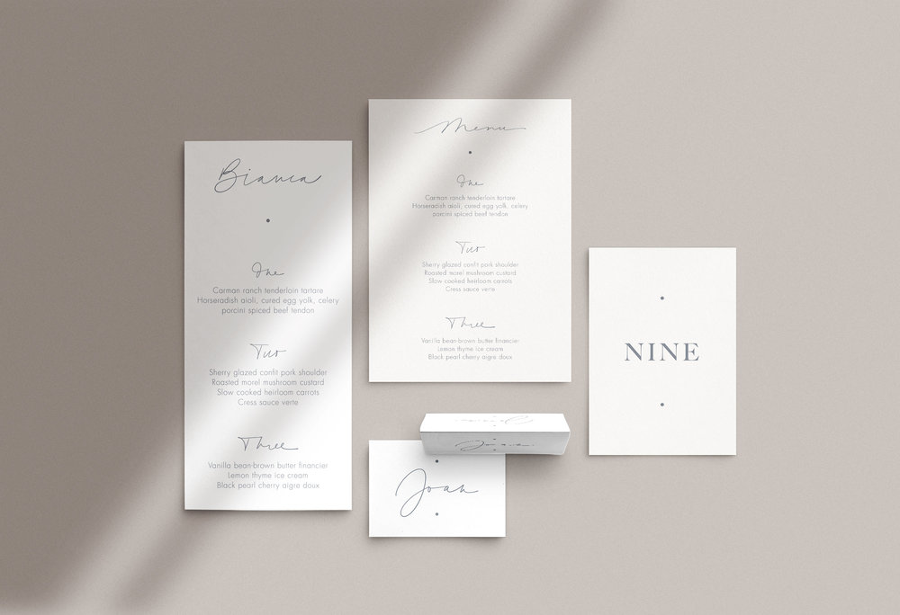 Carta Plena Menu and Place cards Emma Suite