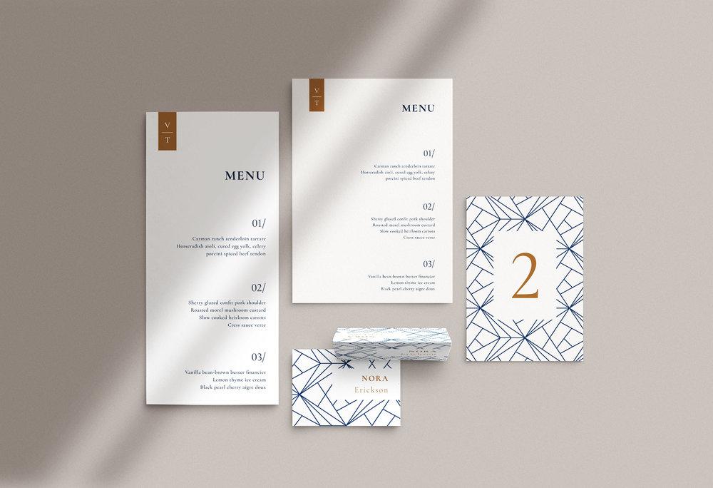 Carta Plena Menu and Place cards Victor