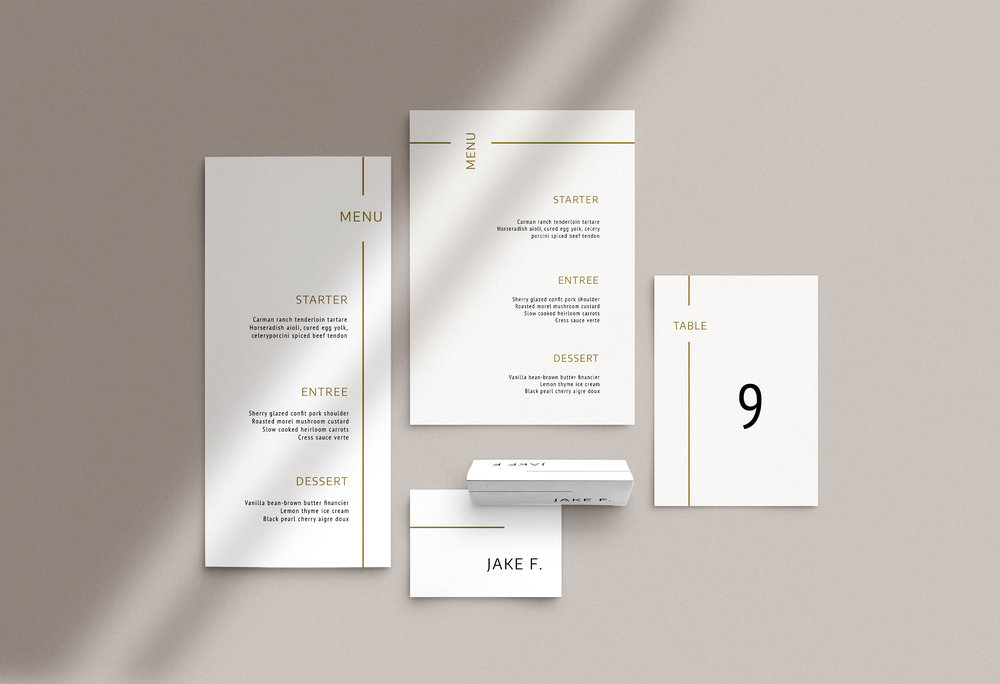 Carta Plena Menu and Place cards Sophia