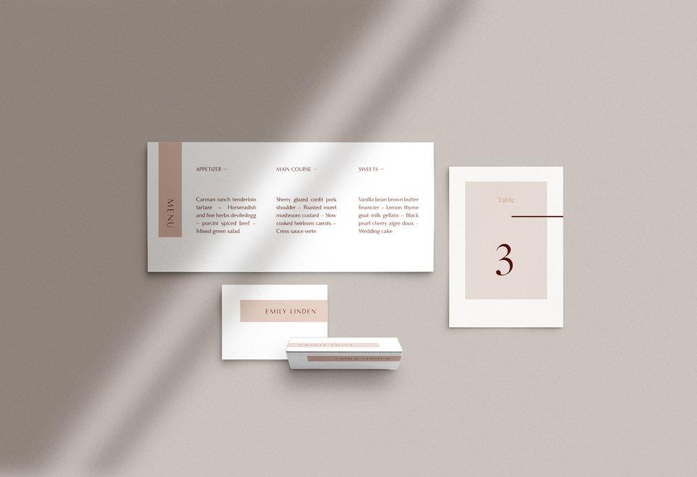 Carta Plena Menu and Place cards Alexis