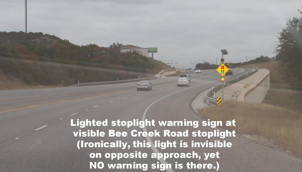 stoplight warning sign at fully visible Bee Creek Road approach.jpg