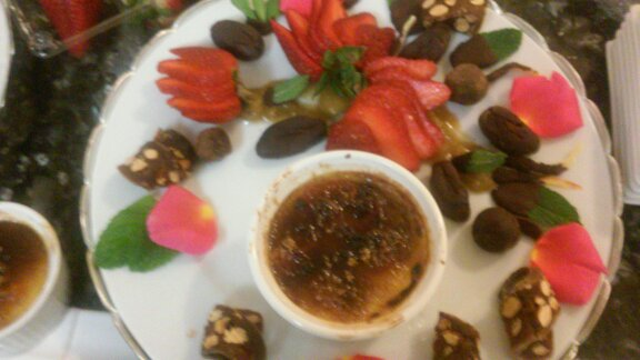 KUMQUAT CREME BRULEE - ALMOND PANFORTE - DARK CHOCOLATE TRUFFLES - FRESH BERRIES WITH PETIT TETON'S RHUBARB JAM...