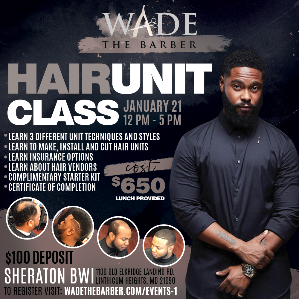 ARE YOU READY TO INCREASE YOUR INCOME & IMPACT LIVES? - Participants will:Learn 3 different unit techniques and stylesLearn to make, install and cut hair unitsLearn a variation of insurance optionsLearn about hair vendersParticipate will receive :Complimentary starter kitCertificate of completion