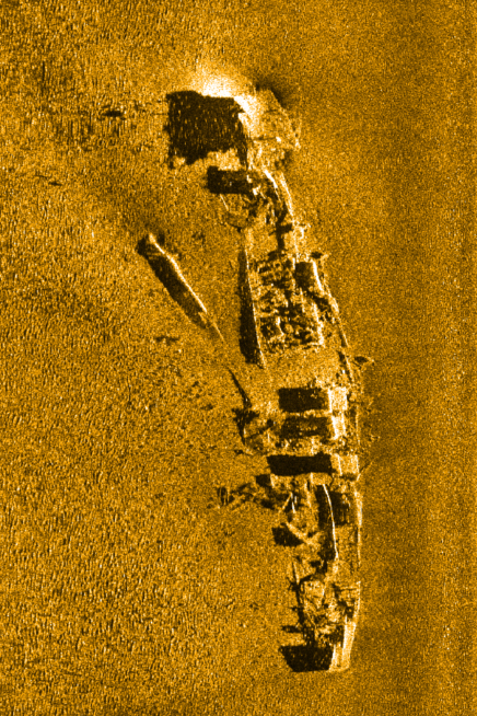 Wreck of USS Hogan imaged with a Klein 3500 sonar on a 75m range scale