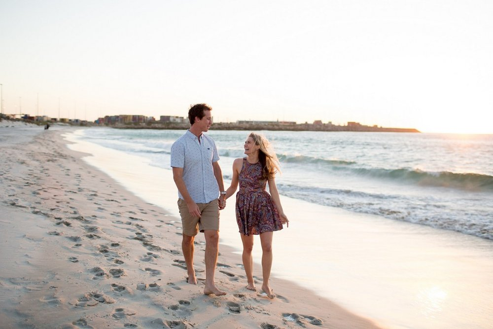 Perth Beach Engagement Sunset Wedding Photographer Candid Relaxed love   .jpg